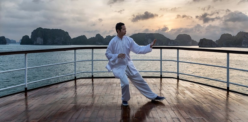 Tai Chi Exercises in Halong Bay